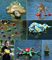 sculpture College-de-Valleyfield-Sculptures-flottantes-d-etudiants-en-arts-visuels-Photos-courtoisie